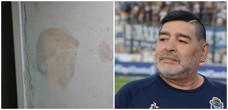 Encuentran la cara de Maradona en una mancha de humedad