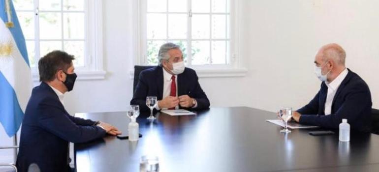 Alberto Fernández, Axel Kicillof y Horacio Rodríguez Larreta se reunieron en Olivos por el aumento de contagios
