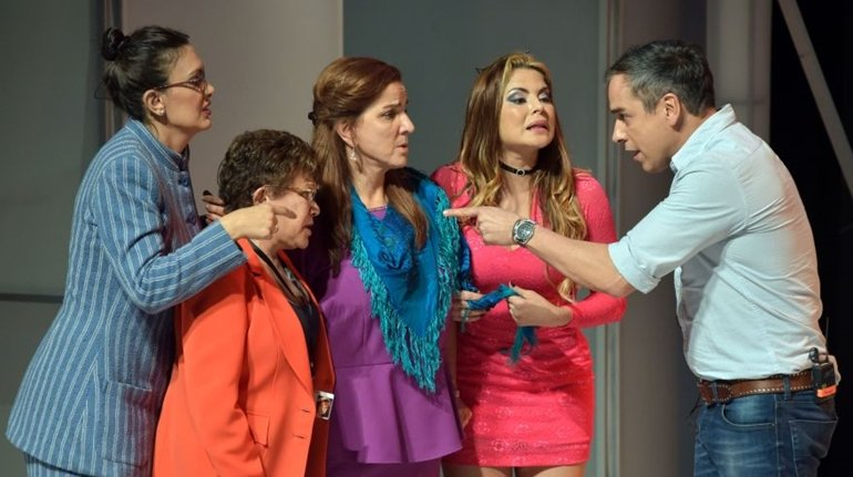 Colombian actors perform during a rehearsal of the play