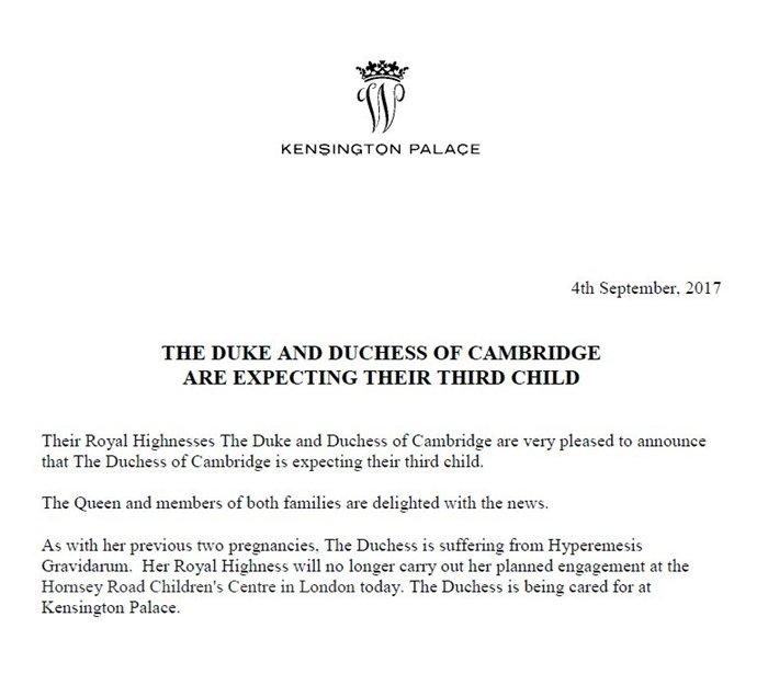 Kate Middleton espera su tercer hijo y #RoyalBaby es TT
