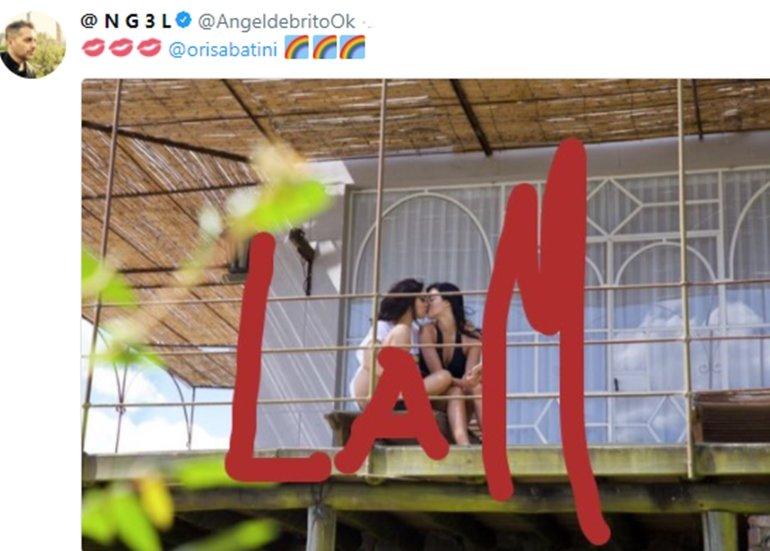 Oriana Sabatini besándose con una mujer en el balcón — Infraganti