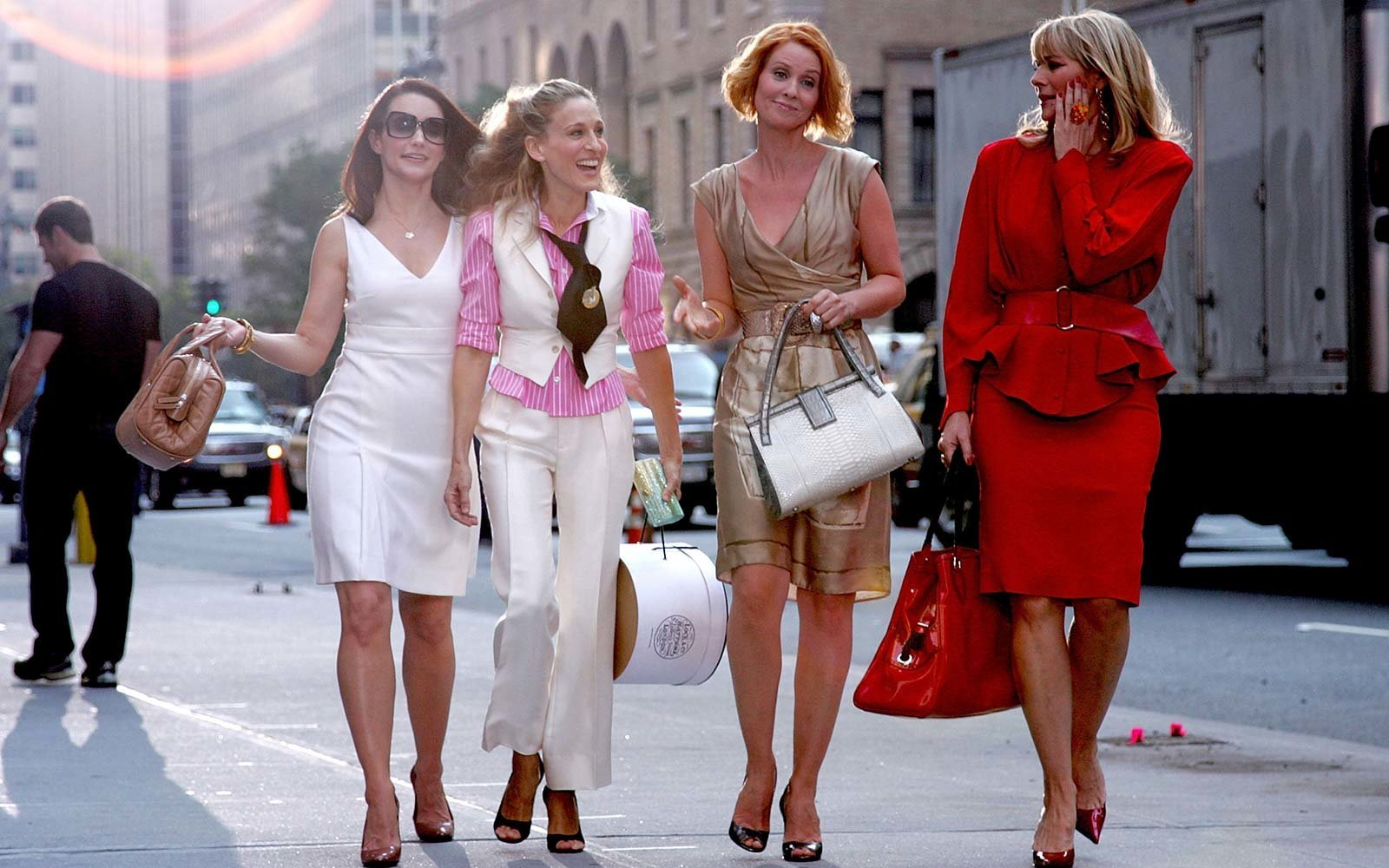 NEW YORK - SEPTEMBER 21:  Actresses Kristin Davis, Sarah Jessica Parker, Cynthia Nixon and Kim Cattrall on the set of