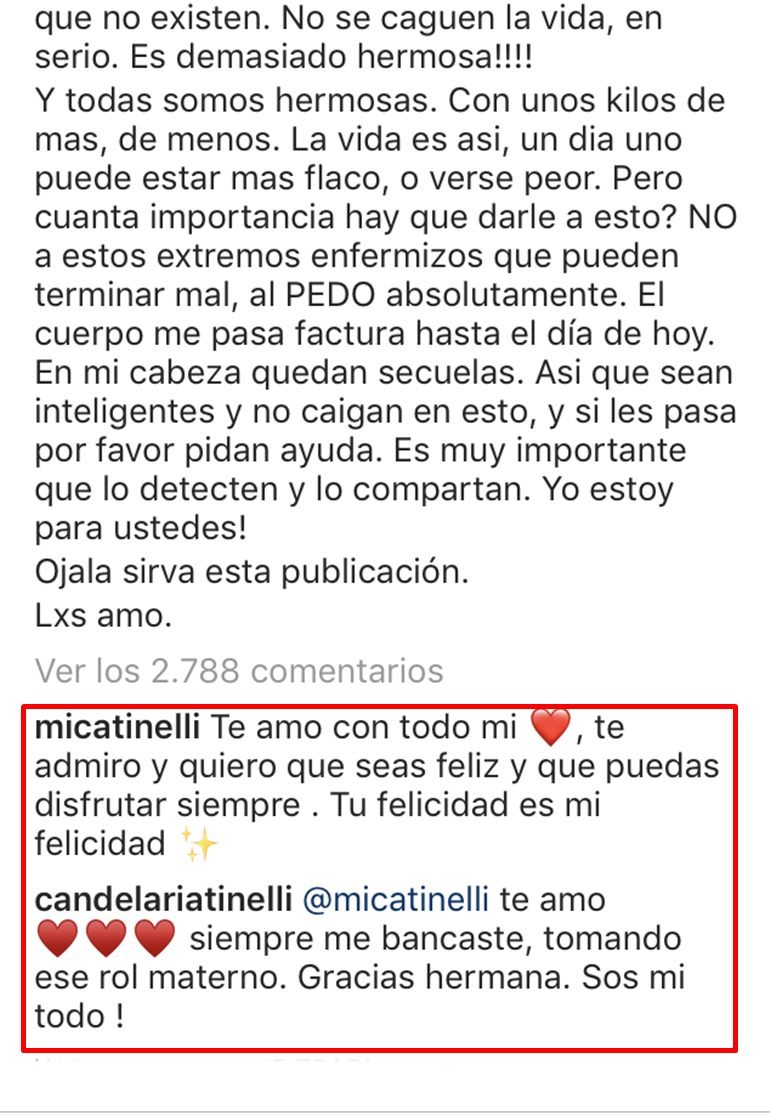 cande tinelli anorexia
