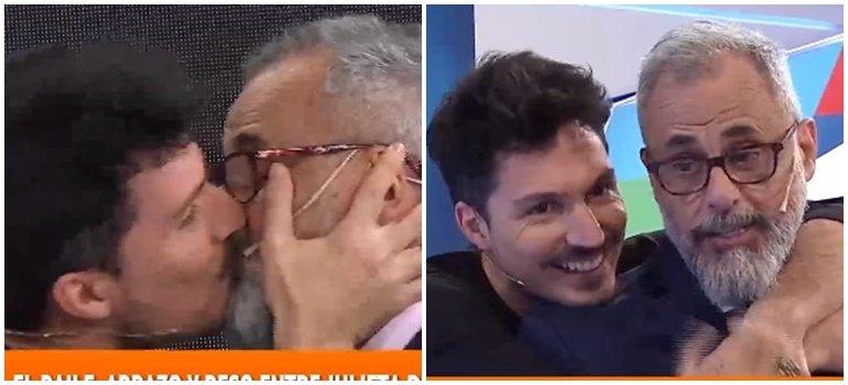 ¡Qué momento! Guido Záffora le dio un 'piquito' a Jorge Rial