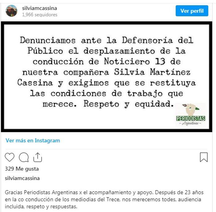 Desvincularon a Silvia Martínez Cassina de la conducción de